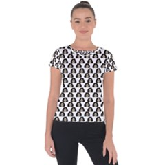 Angry Girl Pattern Short Sleeve Sports Top