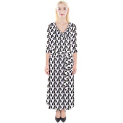 Angry Girl Pattern Quarter Sleeve Wrap Maxi Dress