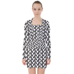 Angry Girl Pattern V Neck Bodycon Long Sleeve Dress