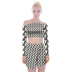 Angry Girl Pattern Off Shoulder Top With Mini Skirt Set