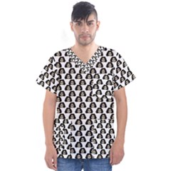 Angry Girl Pattern Men s V Neck Scrub Top