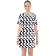 Angry Girl Pattern Sixties Short Sleeve Mini Dress