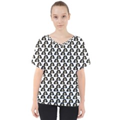 Angry Girl Pattern V Neck Dolman Drape Top