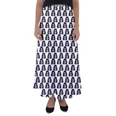 Angry Girl Pattern Flared Maxi Skirt