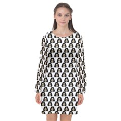 Angry Girl Pattern Long Sleeve Chiffon Shift Dress