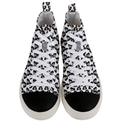 Angry Girl Pattern Men s Mid Top Canvas Sneakers
