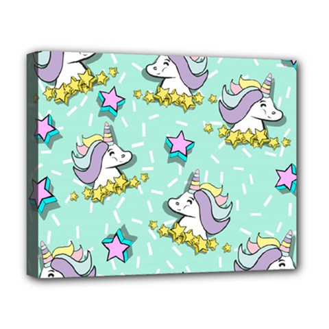Magical Happy Unicorn And Stars Deluxe Canvas 20  X 16