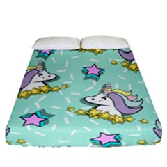Magical Happy Unicorn And Stars Fitted Sheet (queen Size)
