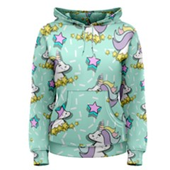 Magical Happy Unicorn And Stars Women s Pullover Hoodie