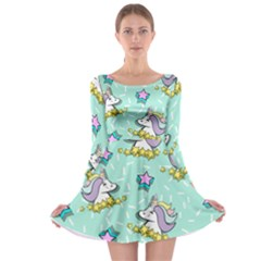 Magical Happy Unicorn And Stars Long Sleeve Skater Dress