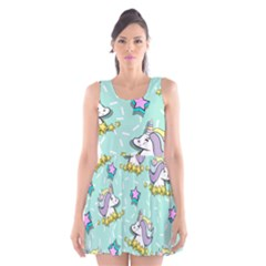 Magical Happy Unicorn And Stars Scoop Neck Skater Dress