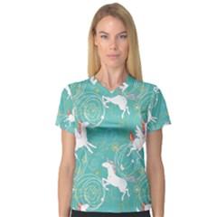 Magical Flying Unicorn Pattern V Neck Sport Mesh Tee
