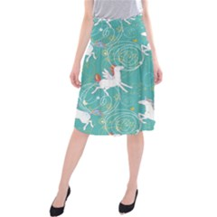 Magical Flying Unicorn Pattern Midi Beach Skirt