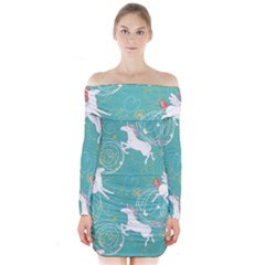 Magical Flying Unicorn Pattern Long Sleeve Off Shoulder Dress