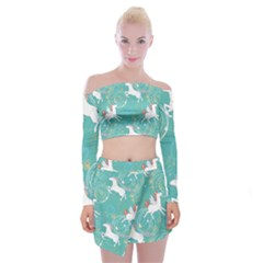 Magical Flying Unicorn Pattern Off Shoulder Top With Mini Skirt Set