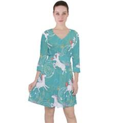 Magical Flying Unicorn Pattern Ruffle Dress