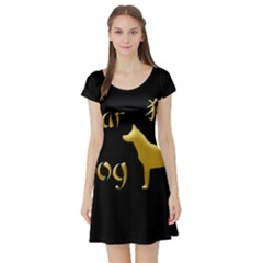 Year Of The Dog   Chinese New Year Short Sleeve Skater Dress