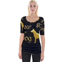 Year Of The Dog   Chinese New Year Wide Neckline Tee