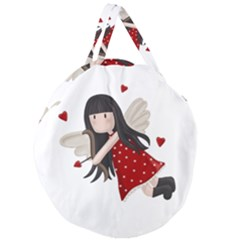 Cupid Girl Giant Round Zipper Tote
