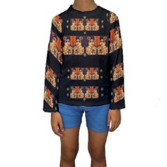 Geisha With Friends In Lotus Garden Having A Calm Evening Kids  Long Sleeve Swimwear