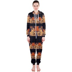 Geisha With Friends In Lotus Garden Having A Calm Evening Hooded Jumpsuit (ladies)