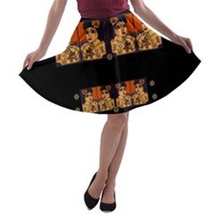 Geisha With Friends In Lotus Garden Having A Calm Evening A Line Skater Skirt
