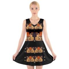 Geisha With Friends In Lotus Garden Having A Calm Evening V Neck Sleeveless Skater Dress