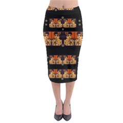 Geisha With Friends In Lotus Garden Having A Calm Evening Midi Pencil Skirt