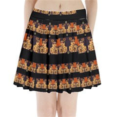Geisha With Friends In Lotus Garden Having A Calm Evening Pleated Mini Skirt
