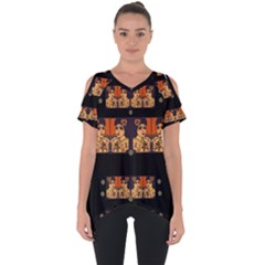 Geisha With Friends In Lotus Garden Having A Calm Evening Cut Out Side Drop Tee