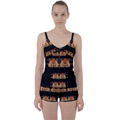 Geisha With Friends In Lotus Garden Having A Calm Evening Tie Front Two Piece Tankini