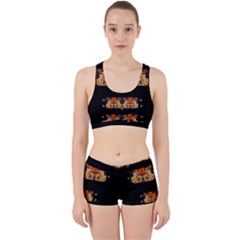 Geisha With Friends In Lotus Garden Having A Calm Evening Work It Out Sports Bra Set