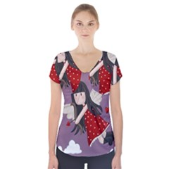 Cupid Girl Short Sleeve Front Detail Top
