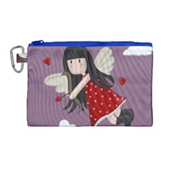 Cupid Girl Canvas Cosmetic Bag (large)