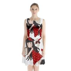 Cupid Girl Sleeveless Waist Tie Chiffon Dress