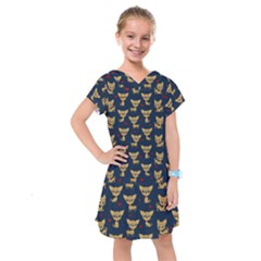 Chihuahua Pattern Kids  Drop Waist Dress