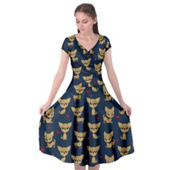 Chihuahua Pattern Cap Sleeve Wrap Front Dress
