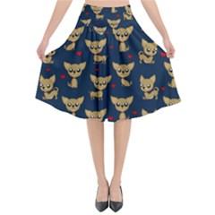 Chihuahua Pattern Flared Midi Skirt