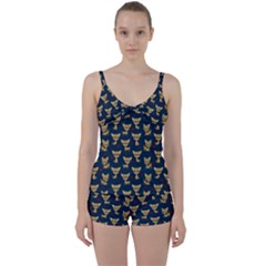 Chihuahua Pattern Tie Front Two Piece Tankini