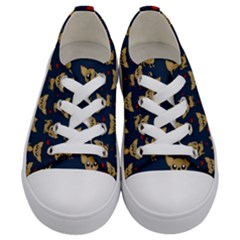 Chihuahua Pattern Kids  Low Top Canvas Sneakers