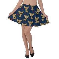 Chihuahua Pattern Velvet Skater Skirt