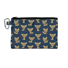 Chihuahua Pattern Canvas Cosmetic Bag (medium)