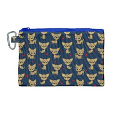 Chihuahua Pattern Canvas Cosmetic Bag (large)