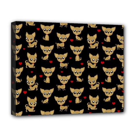 Chihuahua Pattern Deluxe Canvas 20  X 16