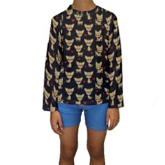 Chihuahua Pattern Kids  Long Sleeve Swimwear