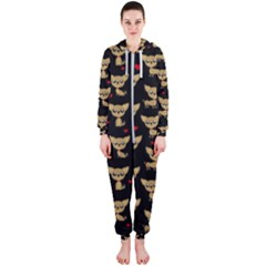 Chihuahua Pattern Hooded Jumpsuit (ladies)