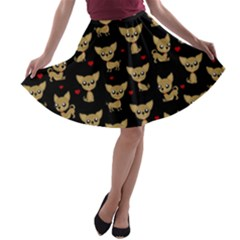 Chihuahua Pattern A Line Skater Skirt
