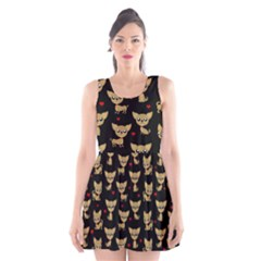 Chihuahua Pattern Scoop Neck Skater Dress