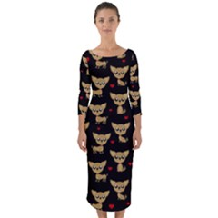 Chihuahua Pattern Quarter Sleeve Midi Bodycon Dress