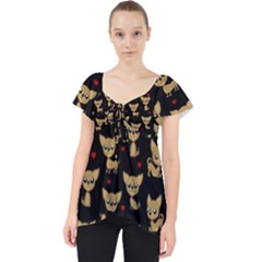 Chihuahua Pattern Lace Front Dolly Top